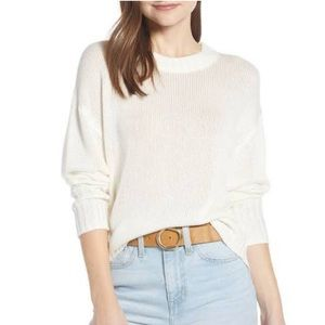 NWT Something Navy White Subtle Sheen Sweater
